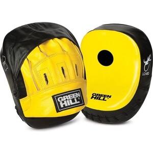 Лапы боксерские GREEN HILL LIZARD арт. FML-5248, нат. кожа, черно-желтые