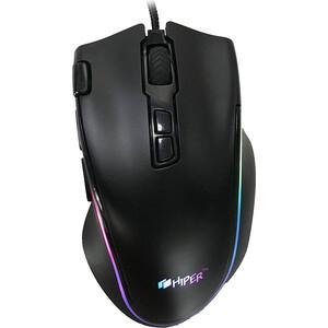 Игровая мышь Hiper Genome GM-1 чёрная (USB, 7 кнопок, 4800 dpi, RGB подсветка)