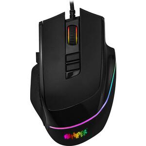 Игровая мышь Hiper Quantum QM-1 чёрная (USB, 10 кнопок, 7200 dpi, сменные панели, RGB подсветка)