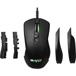 Игровая мышь Hiper Quantum QM-2 чёрная (USB, 9 кнопок, 6400 dpi, сменные панели)