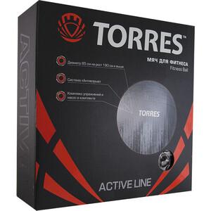 Мяч гимнастический Torres AL100185, диам. 85 см, эласт. ПВХ, с защ.от взрыва, насосом, тем.серый