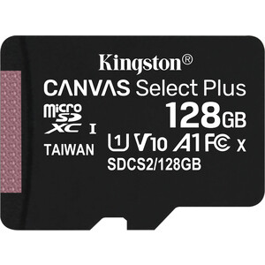 Фото - Карта памяти Kingston microSDXC 128Gb Canvas Select Plus (class 10/UHS-I/U1/100MB/s) карта памяти kingston micro sdhc 32gb canvas select plus uhs i u1 a1 adp 100 10 mb s