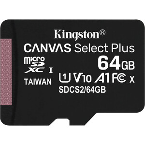 Карта памяти Kingston microSDXC 64GB Canvas Select Plus (class 10/UHS-I/U1/100MB/s)