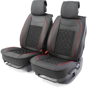 Накидки на передние сиденья CarPerformance Каркасные , 2 шт., экокожа CUS-2092 BK/BK