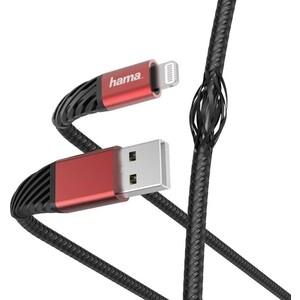 Фото - Кабель HAMA 00187217 Lightning (m) угловой USB 2.0 (m) угловой 1.5м черный/красный кабель hama 00187218 usb type c m угловой usb 2 0 m угловой 1 5м черный красный