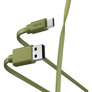Фото - Кабель HAMA 00187231 USB Type-C USB A(m) 1м зеленый плоский кабель hama 00183330 usb type c m usb type c m 1м белый