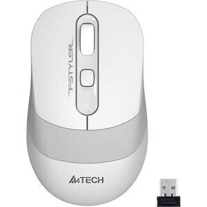 Фото - Мышь A4Tech Fstyler FG10 белый/серый оптическая (2000dpi) беспроводная USB (4but) мышь a4tech fstyler fg10 черный оранжевый оптическая 2000dpi беспроводная usb 4but