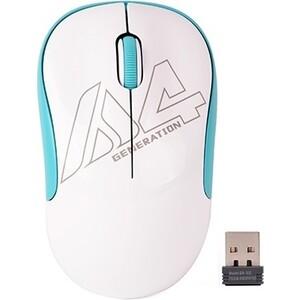 Мышь A4Tech V-Track G3-300N белый/голубой оптическая (1000dpi) беспроводная USB для ноутбука (3but)