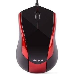 Мышь A4Tech V-Track Padless N-400 черный/красный оптическая (1000dpi) USB (3but) недорого