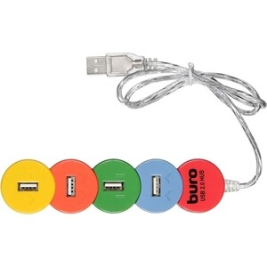 Разветвитель USB 2.0 Buro BU-HUB4-0.5-U2.0-Snake 4порт. разноцветный