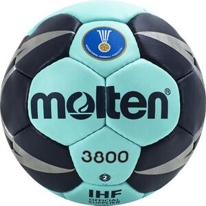Мяч гандбольный Molten арт. H2X3800-CN, р.2, мат.ПУ,32 пан, руч.сш, бирюзово-т.синий