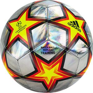 Мяч футбольный Adidas UCL Training Foil Ps GU0205, р.4, 12 панелей, ТПУ, маш.сш., серебр-желто-красный
