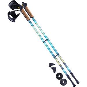 Палки для скандинавской ходьбы BERGER Starfall, 77-135 см, 2-секционные, синий/серый/жёлтый