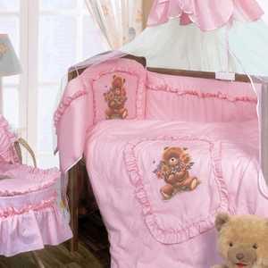 Комплект в кроватку Золотой гусь Алёнка 7 предметов (розовый) 1016 постельный сет 7 предметов золотой гусь сладкий сон розовый