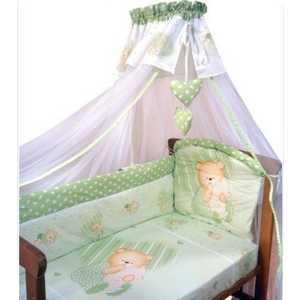 Комплект в кроватку Золотой гусь Мишутка 7 предметов (зелёный) 1904
