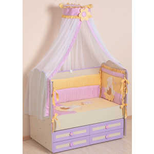 Комплект в кроватку Сдобина Пасечник 7 предметов (фиолетовый) холлофайбер 64