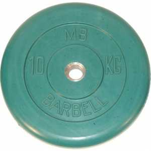 цена на Диск обрезиненный MB Barbell 26 мм. 10 кг. зеленый Стандарт