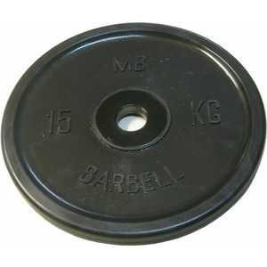 Диск обрезиненный MB Barbell 51 мм 15 кг черный Евро-Классик (Олимпийский) диск обрезиненный евро классик 51 мм 25 кг красный с тройным хватом олимпийский