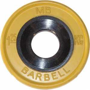 Диск обрезиненный MB Barbell 51 мм 1.25 кг желтый Евро-Классик (Олимпийский) диск олимпийский body solid обрезиненный 10 кг зеленый p ro 10k dsa