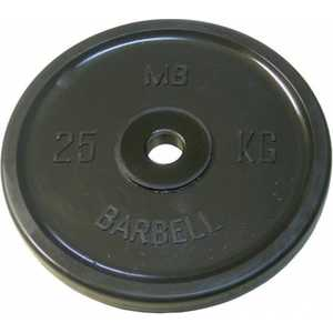 цены Диск обрезиненный MB Barbell 51 мм 25 кг черный