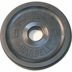 Диск обрезиненный MB Barbell 51 мм 5 кг черный
