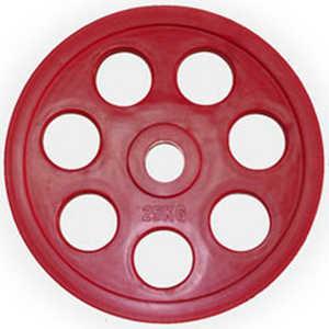 Диск обрезиненный Евро-Классик 51 мм 25 кг красный с хватом