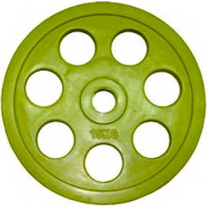Диск обрезиненный Евро-Классик 51 мм 15 кг желтый с хватом
