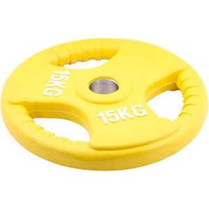 Диск обрезиненный Евро-Классик 51 мм 15 кг желтый с тройным хватом (Олимпийский) олимпийский диск евро классик с хватом ромашка 20 кг