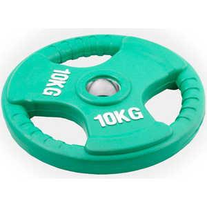 Диск обрезиненный Евро-Классик 51 мм 10 кг зеленый с тройным хватом (Олимпийский)
