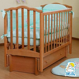 Кроватка Кубаньлесстрой Жасмин продольный маятник/ящик натуральный бук АБ 19.3