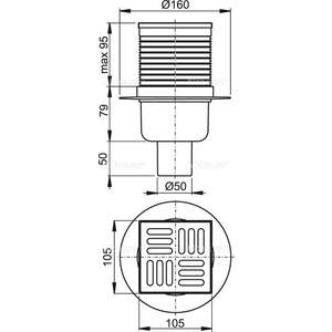 Душевой трап AlcaPlast 105х105/50 подводка прямая, нержавеющая сталь, гидрозатвор мокрый (APV2)