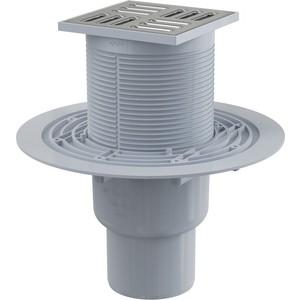 Душевой трап AlcaPlast 105х105/50/75 подводка прямая, нержавеющая сталь, гидрозатвор комбинированный SMART (APV2321)