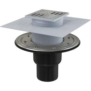 Душевой трап AlcaPlast 105х105/50/75 подводка прямая, нержавеющая сталь, гидрозатвор сухой и мокрый (APV4344)
