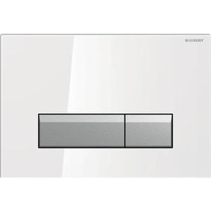 Кнопка смыва Geberit Sigma 40 белое стекло/алюминий, с системой очистки воздуха (115.600.SI.1)