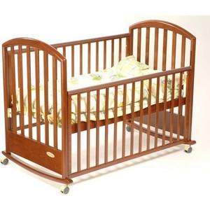 Кроватка Papaloni Джованни 120х60см колеса/качалка темный орех of000025795