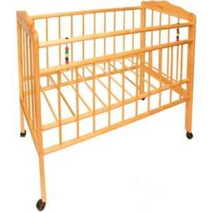 обычная кроватка 120x60 вдк magico mini берёза Кроватка Смирнов Женечка 1 колесо светлая