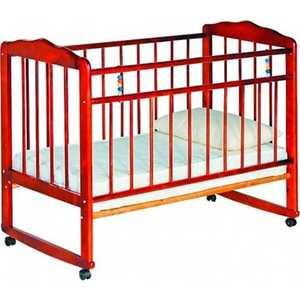 Кроватка Смирнов Женечка 3 колеса/качалка вишня