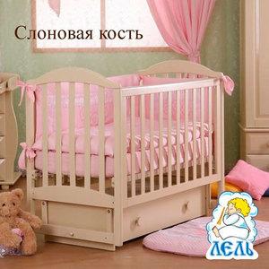 Кроватка Кубаньлесстрой Лилия поперечный маятник/ящик слоновая кость/стразы Д002 АБ 17.2