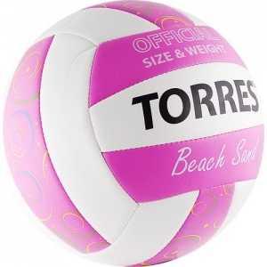 Мяч волейбольный Torres любительский (для пляжа) Beach Sand Pink арт. V30085B, размер 5, бело-розово-мультиколор
