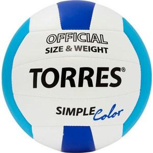 Мяч волейбольный любительский Torres Simple Color арт. V30115, размер 5, бело-голубо-синий