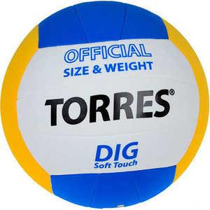 Мяч волейбольный любительский Torres Dig арт. V20145, размер 5,бел-жел-син