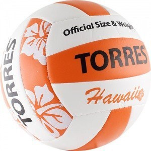 Мяч волейбольный Torres любительский (для пляжа) Hawaii арт. V30075B, размер 5, бело-оранжево-черный