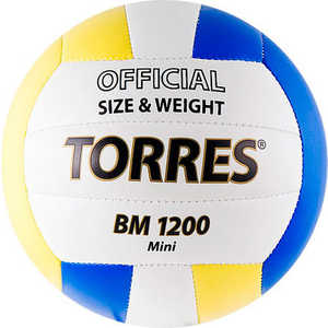Мяч волейбольный Torres сувенирный BM1200 Mini, арт. V30031, размер 1, сине-желтый купить недорого низкая цена  - купить со скидкой