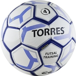 Мяч футзальный Torres Futsal Training, (арт. F30104/F30644), размер 4, цвет: бело-черно-серебр
