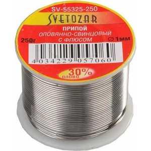 Припой СВЕТОЗАР оловянно-свинцовый 30% Sn/70% Pb 250гр (SV-55325-250) припой светозар sv 55325 100