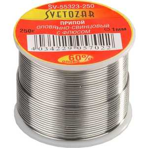 Припой СВЕТОЗАР оловянно-свинцовый 60% Sn/40% Pb 250гр (SV-55323-250) припой светозар sv 55325 100