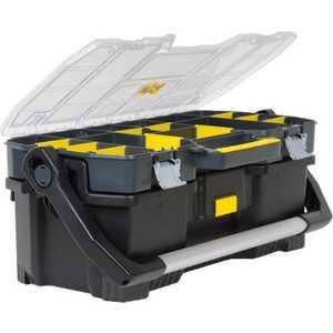 Ящик для инструментов Stanley 24 67x32.3x25.1мм со съемным органайзером (1-97-514) открытый профессиональный пластмассовый ящик со съемным органайзером stanley 24 67х32 3х25 1 см stanley 1 97 514 1 97 514