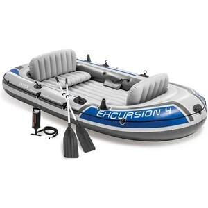 Надувная лодка Intex Экскурсия-4 (до 400кг) 315х165х43см + весла/насос (68324) цена