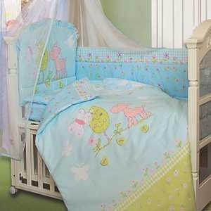 Комплект в кроватку Золотой гусь Little Friend 7 предметов (голубой) 1262 пеленка непромокаемая на резинке золотой гусь однослойная