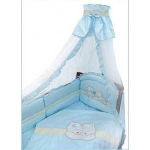 Комплект в кроватку Золотой гусь Лапушки 7 предметов (голубой) 1612 пеленка непромокаемая на резинке золотой гусь однослойная